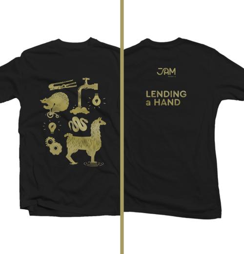 Lending a Hand t-shirt (pedal logos)